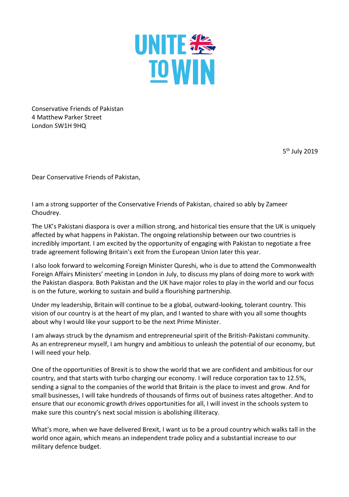 Jeremy Hunt's letter to CFOP